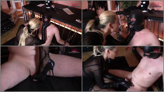 Domina - CHERIE NOIR – HARD AND UNCUT – Leather-CBT Cock torture and long leather gloves