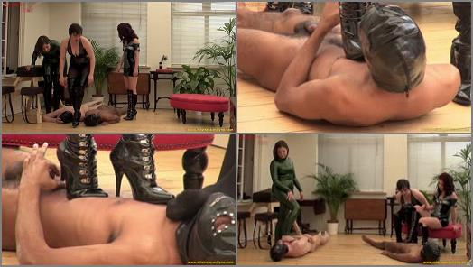 Boot Domination - CRUEL ENGLISH FEMDOM – TOO MANY BOOTS  Starring Mistress Lola Ruin, Governess Ely and Mistress Evilyne