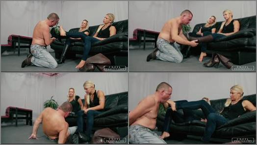 CRUEL PUNISHMENTS  SEVERE FEMDOM  Feet forced in his mouth   Mistress Zita and Mistress Melanie preview