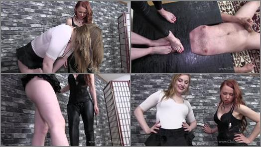 Bondage Device – Club Stiletto FemDom – Foot Bitch Blows A Load –  Goddess Mia and Russian Queen M