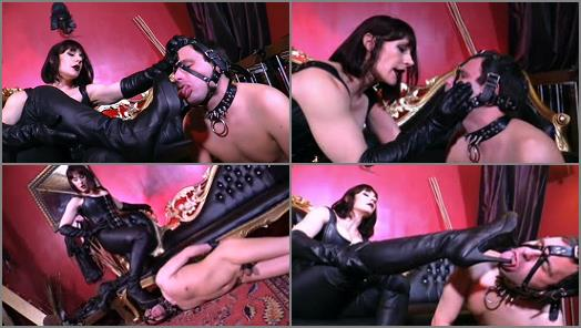Cybill Troy FemDom AntiSex League  Servicing Andreas Leather Boots   Goddess Andrea Untamed preview