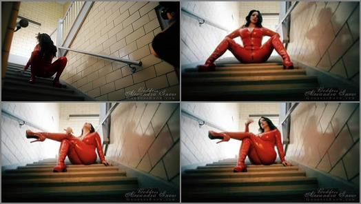 Goddess Alexandra Snow  Red Catsuit in Stairwell Photoshoot preview