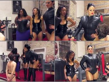 Leather - Mistress Ezada Sinn – Spit bukkake -  Madame Caramel and Governess Painless