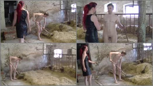 SADISTIC FIGHT GIRLS  Hard work and beats in barn for bondslave of Lady Lara preview