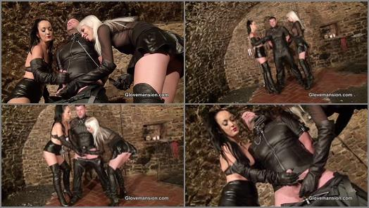 Milking –  Glove Mansion – Double drained leather slave –  Fetish Liza and Alexa Wild