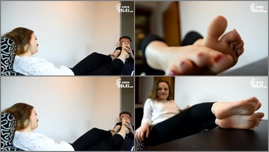 Footlicking –  Czech Soles – My feet are so tired. Would you worship them for me