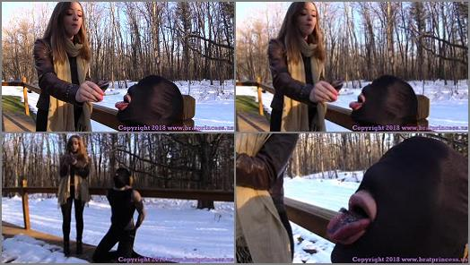 Femdom –  Brat Princess 2 – Veronica – Uses Outdoor Human Ashtray on a Cold Day