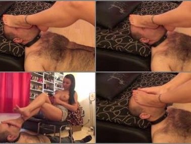 Footstool - NATURAL BORN DOMMES MEGASTORE – Lady Eris Dark – Topless And Denim – CRUEL Footgagging