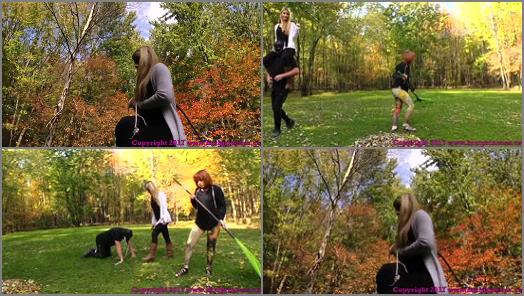 Brat Princess 2  Chloe and Lizzy  Pony slave Ridden Around the Grounds while slave girl Does Yard Work  preview