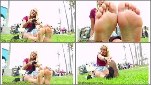 California Beach Feet  high top sneakers and socks off bare feet preview