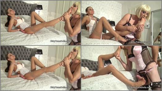 Dirty Trans Dolls  A slut for her nylon feet part 1   Tina Kay and Kinky Natasha  preview
