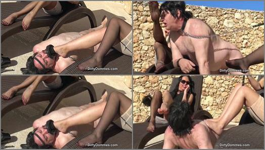 Dirty Dommes  Outdoor foot slave   Fetish Liza and Amanda Black  preview