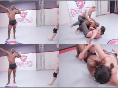 Double Domination -  Evolved Fights – Penny Barber and Jolene Hexxx vs Will Tile SFW NO SEX WRESTLING