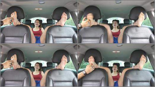 Tickle feet – French Tickling – Lisabeth's Ruthless Bare Feet Tickling In The Car
