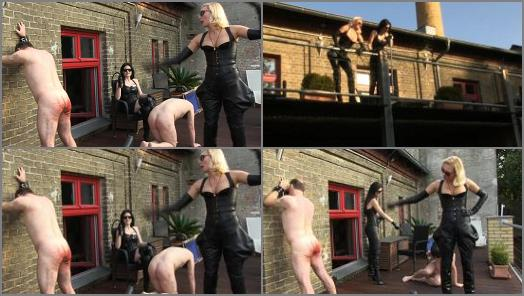 Leather – SADO LADIES Femdom Clips – Whipped Worker –  Mistress Akella And Blackdiamoond