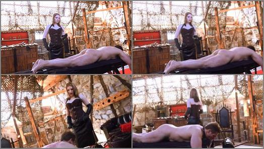 Leather – Sado Ladies – Caned On The Bench –  Mistress Cloe