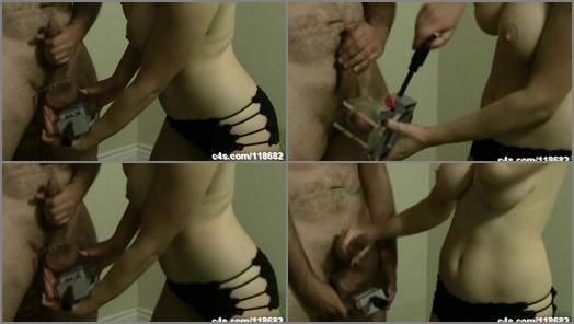 Ballbusting and Chastity  Crushing the Cum out on my Tits  preview