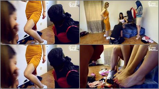 Czech Soles  Slave beating ball busting and footdom by 3 foot girls   Blue Kate Daniela and Lexi  preview