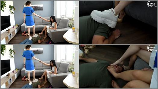 Czech Soles  Two Asian cuties enjoying findom and foot humiliation of a robber  preview