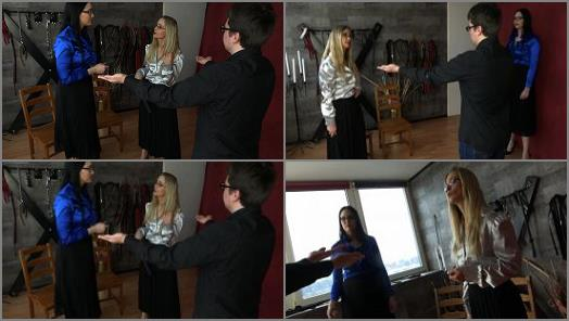 Sado Ladies  Fat Slave Gets His Hands Strapped  preview