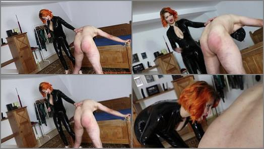 Lady Dark Fairytale starring in video Sexy Redhead introduces the slave to caning preview