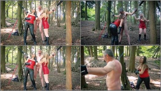 Mistress Evilyne and Mistress Sidonia starring in video Woodland Whipping  Part 3 of The English Mansion studio preview