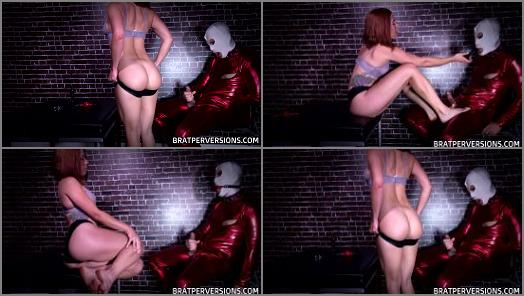 Ballbusting and footjob with sexy redhead mistress