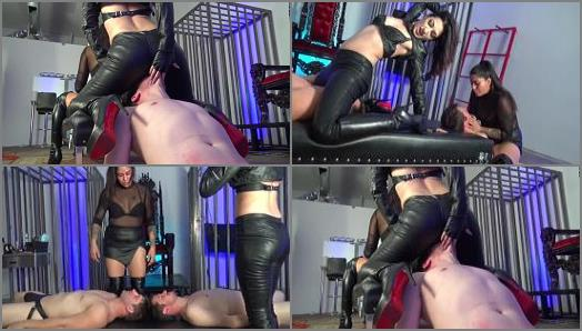 Cybill Troy and Eva Cruz starring in video Sadistic Leather Ass Smothering of Cybill Troy FemDom AntiSex League studio preview