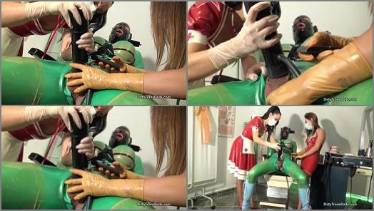 Rubber doll training at the clinic stage 2  Part 2 of Dirty Trans Dolls studio preview