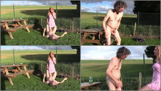 Outdoors – Sophia starring in video 'Beer Garden Ballbusting' of 'Ball Busting World' studio
