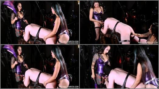 Mistress Amrita and Mistress Youko starring in video Japanese Doubledomme Spitroast strap on and blowjob slave training preview