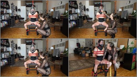 Mine to Toy With  Kino Payne and Elise Graves  Dressed in Leather Ballet Boots Neck Corset and Muzzle Kino Suffers Impact Play Neck Play and Plastic Bag Play preview