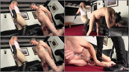 Female Domination – Mistress Frankie starring in video 'Ballbusted Stablehand' of 'Ball Busting World' studio