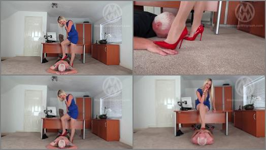 Mistress Nikki Whiplash starring in video Office trampling from sharp Jimmy Choos preview