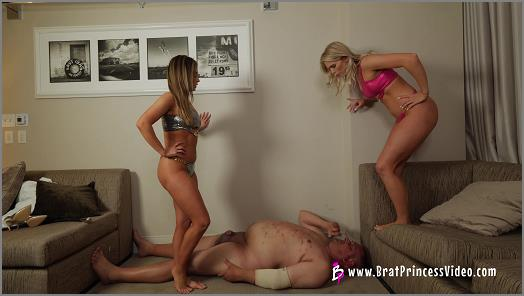Trampling –   Amber and Lexi starring in video 'We Want More Bikinis Trample' of 'Brat Princess 2' studio