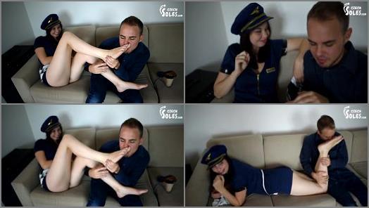 Foot licking – Czech Soles – Dita – Co-pilot's smoking hot legs and feet worship