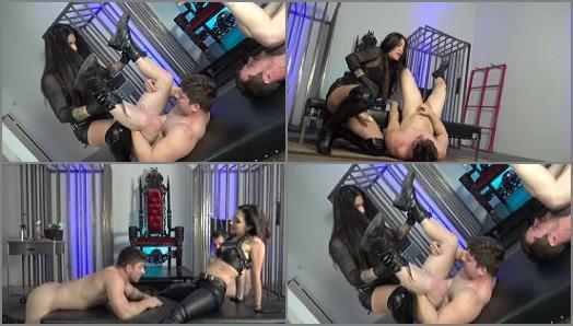 Cybill Troy FemDom AntiSex League  Sadistic Leather Spitroast   Mistresses Cybill Troy and Eva Cruz preview