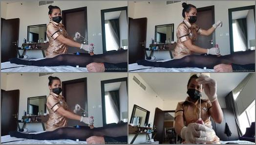 Ball Kicking – Domina Fire – Gold nurse Part 2 CBT Time to stretch that peehole