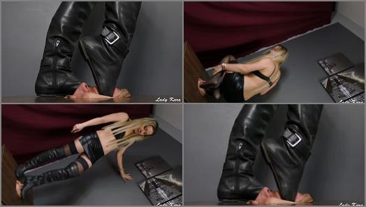 Footlicking – Lady Kara starring in video 'Quiet! Doormat doesnt make any noises!'