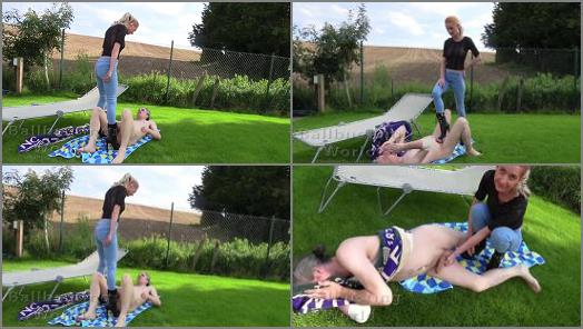 Ball Kicking – Ballbusting World PPV – Extremely hard outdoor ballbusting from Sophia in Jeans BB1487 –  Sophia