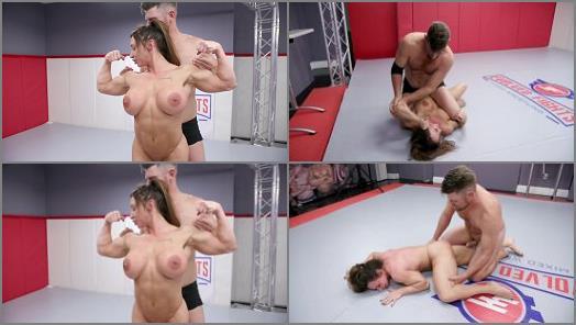 Dildo – Evolved Fights – Muscle Woman vs. Muscle Man Winner Fucks Loser –  Brandi Mae