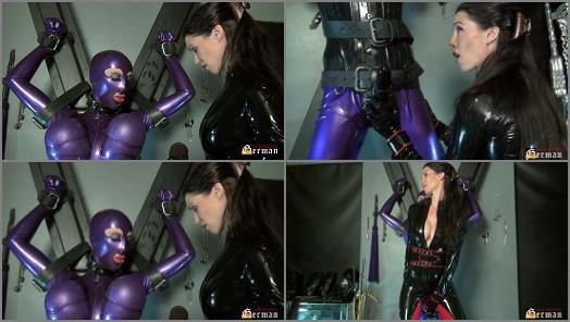 Verweiblichung – Mistress Susi s Fetish Clips – Rubberdoll Natalie Goth teased on the Cross