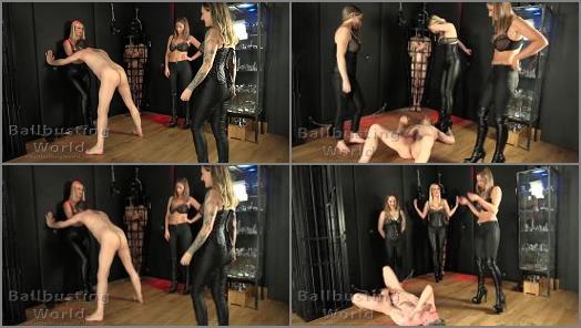 Kicking – Ball Busting World – Triple Ballbusting Destruction –  Nikki, Aveena and Nikki